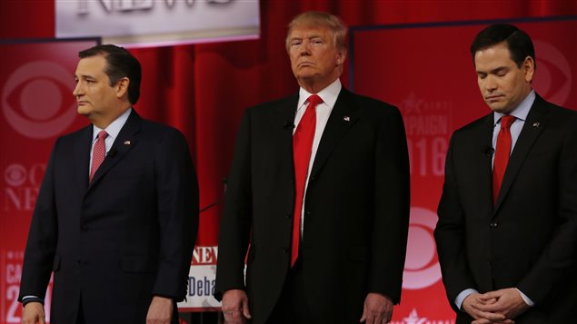 Les candidats républicains Ted Cruz, Donald Trump et Marco Rubio