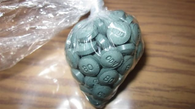Un sachet de pilules contenant la nouvelle drogue W-18. Cette nouvelle drogue plus néfaste que le fentanyl et fabriquée à Edmonton se développe dans la province.