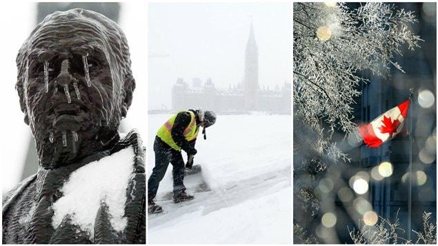 Un montage de différents clichés hivernaux pris dans la capitale nationale.