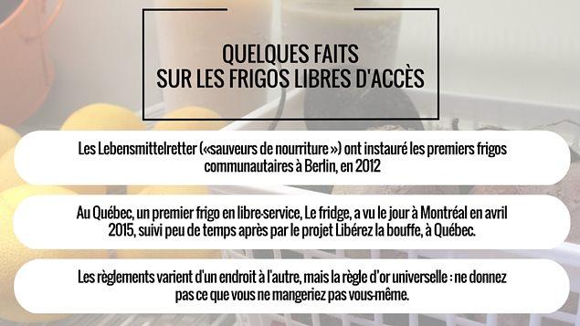 Quelques faits sur les frigos libres d'accès