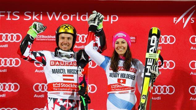 Marcel Hirscher et Wendy Holdener