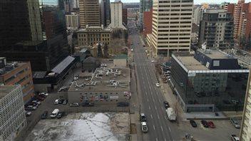 Le centre-ville de Calgary peut parfois avoir l'air désert.