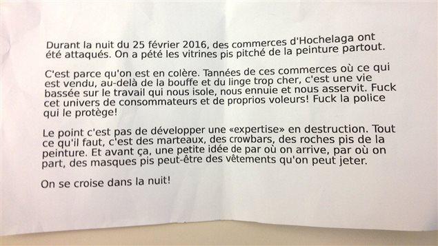 Un tract retrouvé au métro Préfontaine le vendredi 26 février.