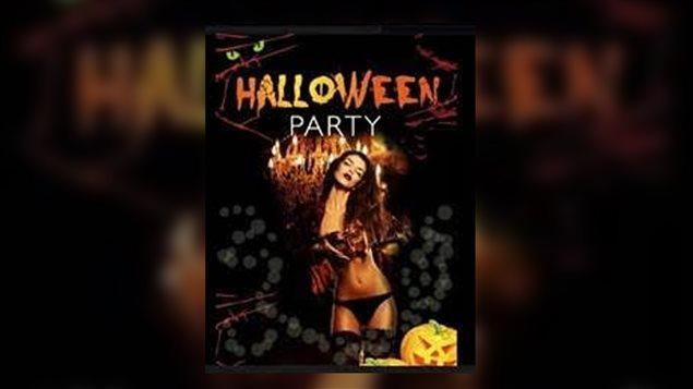 Imagine utilisée par le bar L'Ancienne Baroque pour faire la promotion de sa fête d'Halloween