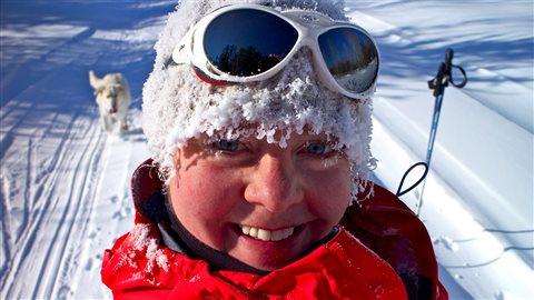 France Lemire lors d'une sortie en ski de fond par temps froid