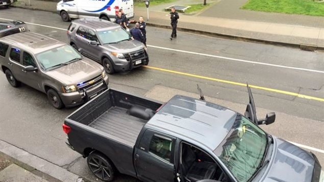 Le véhicule suspect sur la rue Beatty.