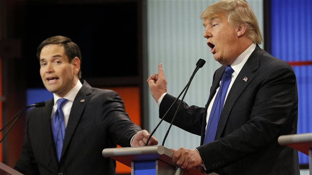 Marco Rubio et Donald Trump à Détroit, au Michigan, le 3 mars 2016