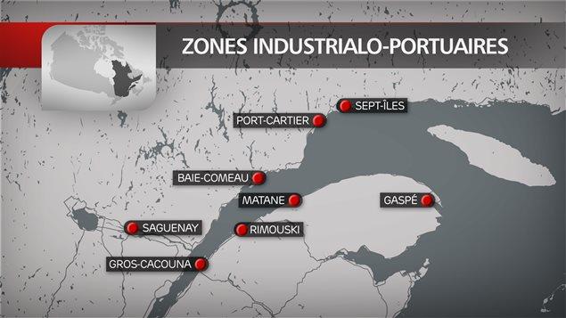 Québec implante 16 zones industrialo-portuaires dans la province, dont 7 dans l'Est du Québec.