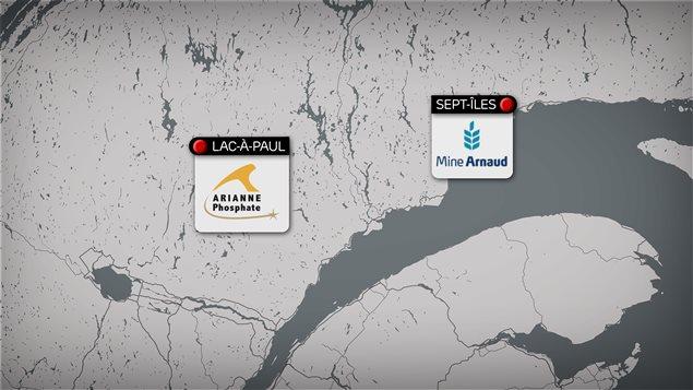 Le projet du Lac à Paul d'Arianne Phosphate est situé à 200 km au nord de Saguenay. Celui de Mine Arnaud se trouve à l'ouest de la ville de Sept-Îles.