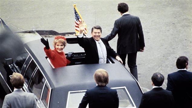 Nancy Reagan et le président américain Ronald Reagan en janvier 1981