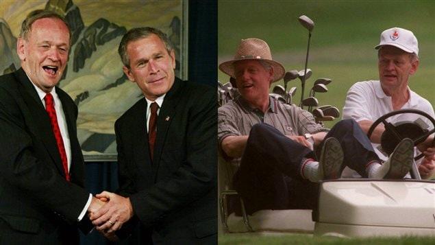 Jean Chrétien, George W. Bush et Bill Clinton.