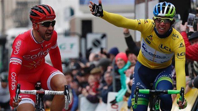 Nacer Bouhanni et Michael Matthews au terme de la 2e étape du Paris-Nice.