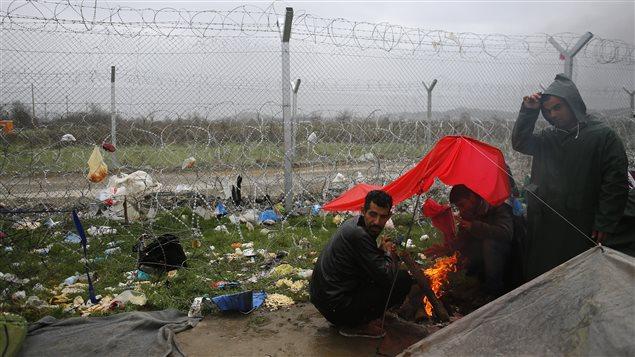 Camp de migrants d'Idomeni, à la frontière gréco-macédonienne.