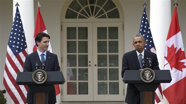 Le premier ministre du Canada, Justin Trudeau et le président américain, Barack Obama