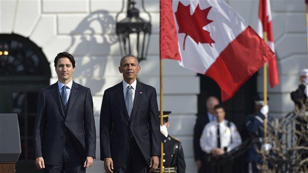 Le premier ministre Trudeau a été accueilli par le président Obama vers 9 h à la Maison-Blanche.