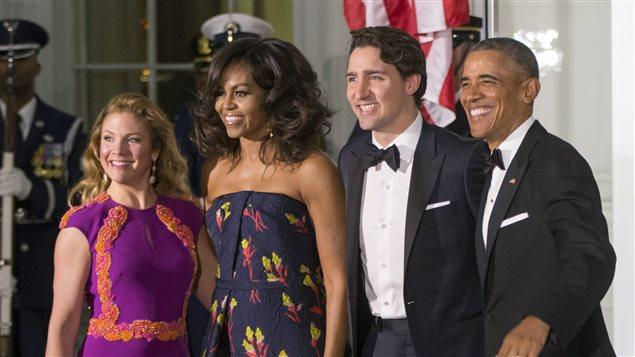 Barack et Michelle Obama ont accueilli le couple Trudeau-Grégoire pour le dîner d'État, jeudi soir, à la Maison-Blanche.