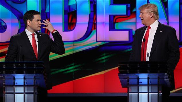 Marco Rubio et Donald Trump, lors d'un débat en Floride, le 10 mars 2016