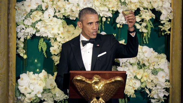 Barack Obama lors du dîner avec les Trudeau à la Maison-Blanche