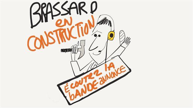 Pierre Brassard prépare son émission avec son marteau.