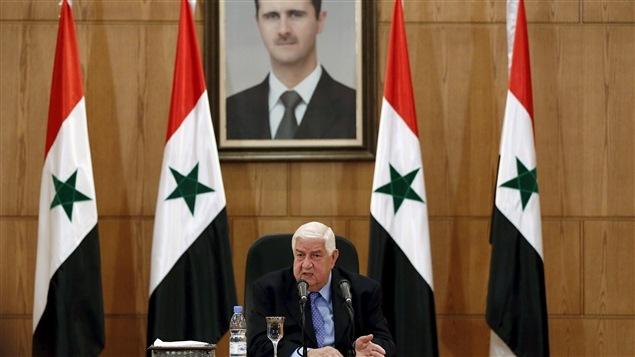 Le ministre syrien des Affaires étrangères, Walid Moualem, lors d'une conférence de presse à Damas, le 12 mars 2016.