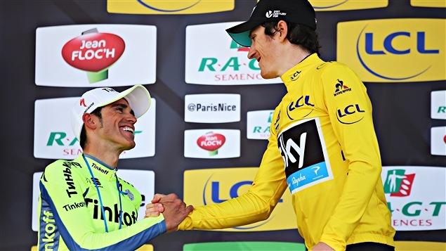 Alberto Contador (à gauche) et Geraint Thomas sur le podium de Paris-Nice