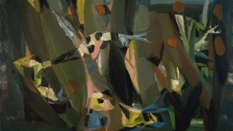 Paul-Émile Borduas, Le facteur ailé de la falaise ou 5.47, 1947, huile sur toile, 81,9 x 109,9 cm