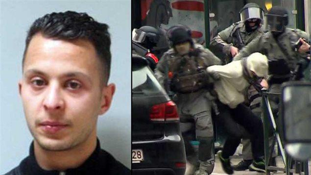 Salah Abdeslam (gauche), lors de son arrestation (droite)