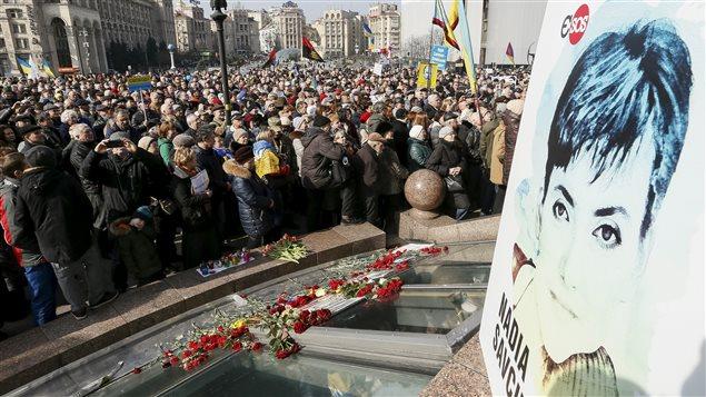 Des Ukrainiens se sont rassemblés en guise de soutien à Mme Savtchenko le 6 mars dernier, à Kiev.