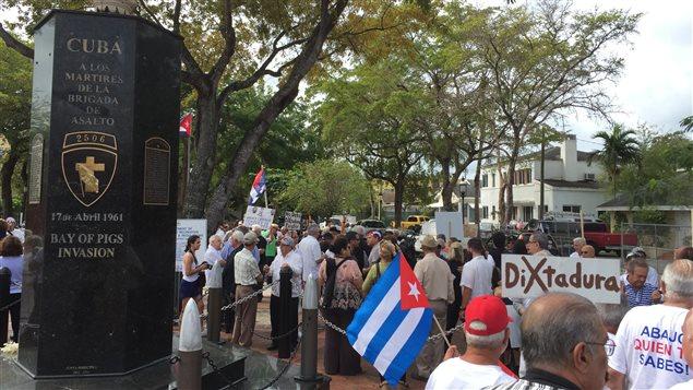 Un monument aux « martyrs » de la Baie des cochons dans un parc de la Petite Havane, à Cuba