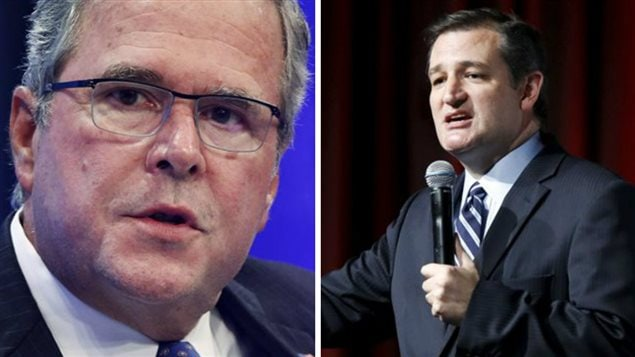 Jeb Bush (gauche) et Ted Cruz (droite)