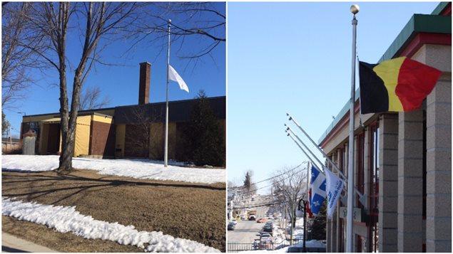 À gauche, le drepeau de la municipalité de Ville-Marie est en berne. À droit, le drapeau belge flotte devant la mairie de Rouyn-Noranda