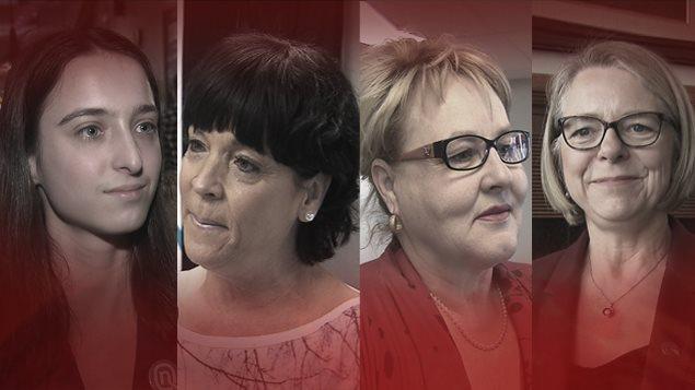 Quatre femmes sont candidates dans Chicoutimi : Catherine Bouchard-Tremblay, Hélène Girard, Francyne T. Gobeil et Mireille Jean
