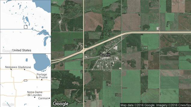 Carte d'Austin, au Manitoba