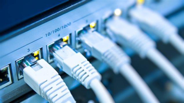 Des fils internet connectés à un routeur