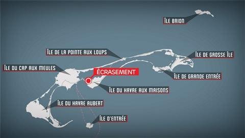 Lieu de l'écrasement d'un petit avion aux Îles-de-la-Madeleine