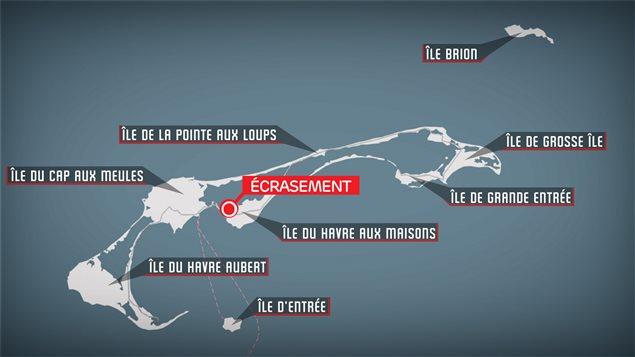 Lieu de l'écrasement de l'avion aux Îles-de-la-Madeleine