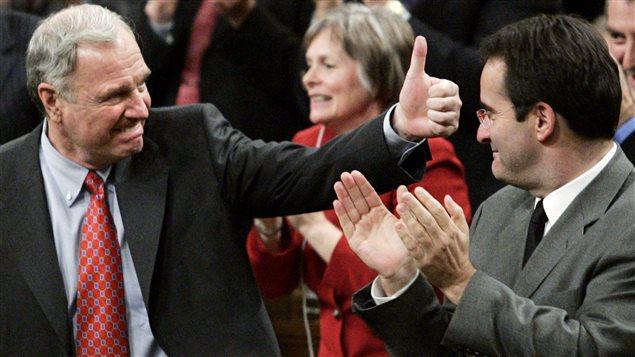 Paul Martin et Jean Lapierre le 28 novembre 2005 à la Chambre des communes