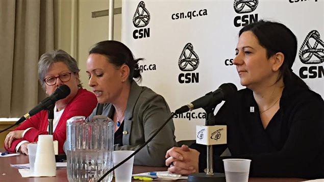 De gauche à droite : Sylvie Théorêt (présidente du syndicat des travailleuses et travailleurs du Centre jeunesse de Montréal), Mélissa Caouette (vice-présidente à la FSSS-CSN) et Nancy Corriveau (vice-présidente de la FP-CSN)