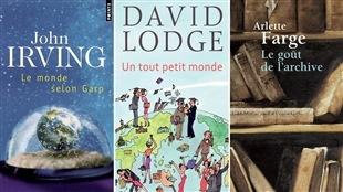 Les couvertures des livres <i>Le monde selon Garp</i>, <i>Un tout petit monde</i> et <i>Le goût de l'archive</i>