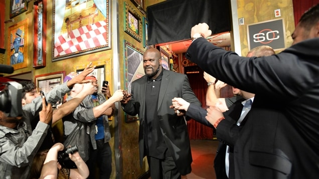 Shaquille O'Neal lors de l'annonce de son intronisation au temple de la renommée.