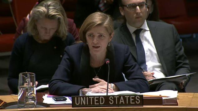 Mme Samantha Power, ambassadrice des États-Unis auprès des Nations unies