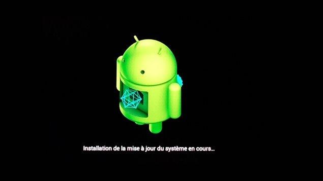 Le logo Android pendant la mise à jour du système d'exploitation.