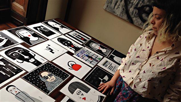 Sara Erenthal et certaines de ses oeuvres.