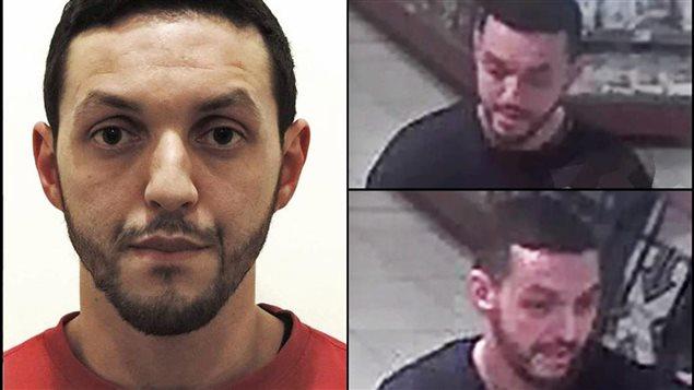 Cette photo fournie par la police belge montre Mohamed Abrini. Les images de droite sont extraites d'une vidéo de surveillance captée dans une station-service de Ressons, deux jours avant les attentats de Paris.