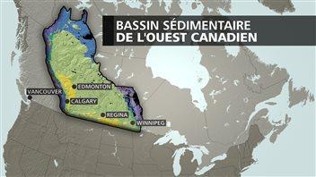 Carte du bassin sédimentaire de l'Ouest canadien