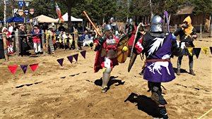 Des combattants médiévaux se disputent un titre d'héritier au Duché de Bicolline