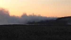 Un feu de broussaille au Manitoba