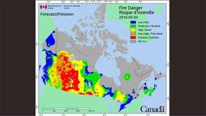Une grande partie de la Saskatchewan est touchée par un risque d'incendie extrême en raison du temps sec.