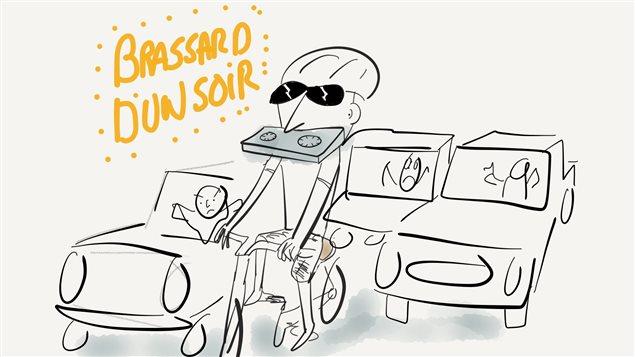 À vélo, Pierre Brassard livre sa huitième émission.