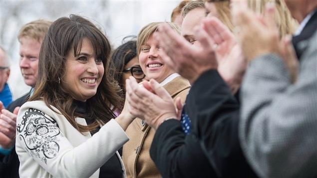 Véronique Hivon lors de l'annonce de sa candidature à la course au leadership du Parti québécois, à Joliette.